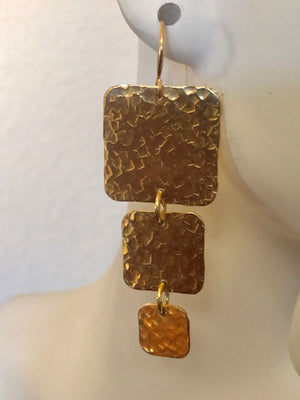 Square three tier hammered gold earrings