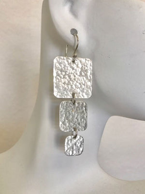 Square three tier hammered silver earrings