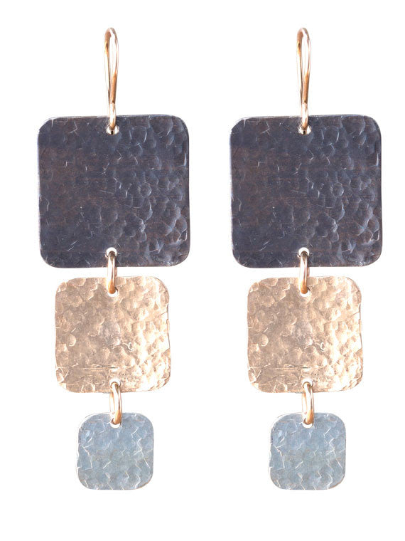 Square tri color hammered earrings