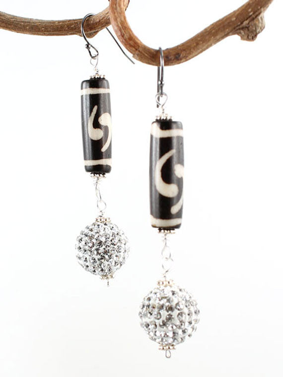 Black and white bone and crystal ball earrings