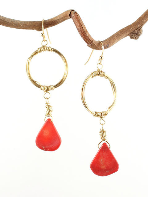 Wire wrapped circle red coral earrings