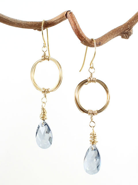 Wire wrapped circle blue crystal earrings