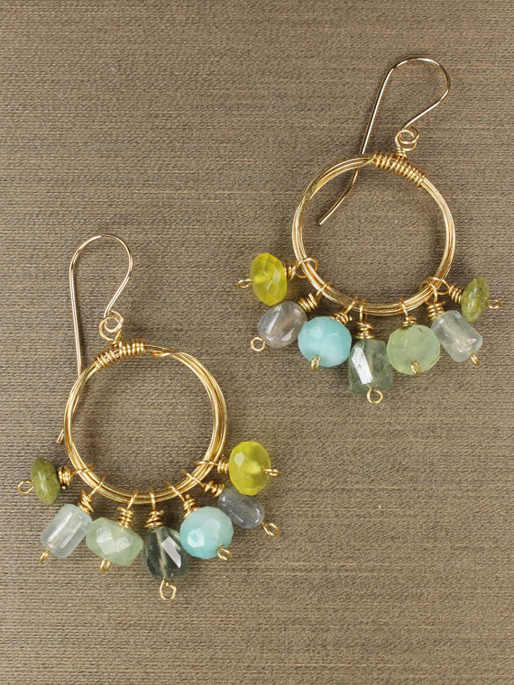 Wire wrapped circle blue and green gemstone earrings