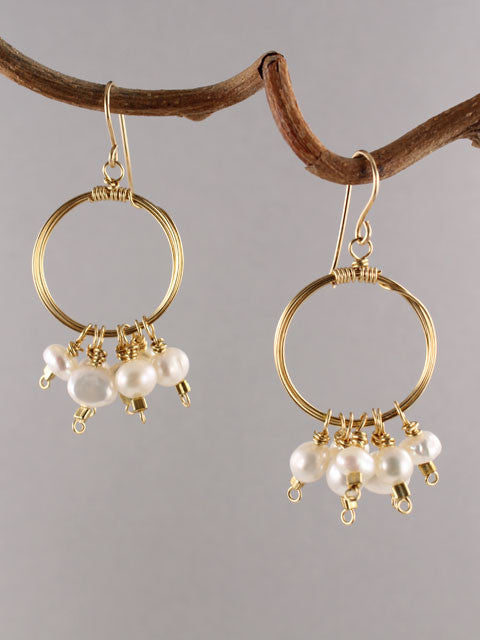 Wire wrapped circle pearl cluster earrings