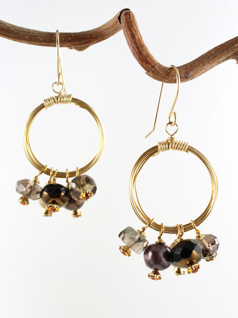 Wire wrapped circle brown gemstone earrings