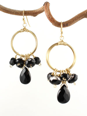Wire wrapped circle black gemstone earrings