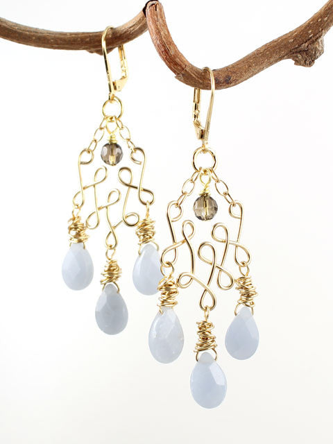 Wire loops light blue angelite earrings