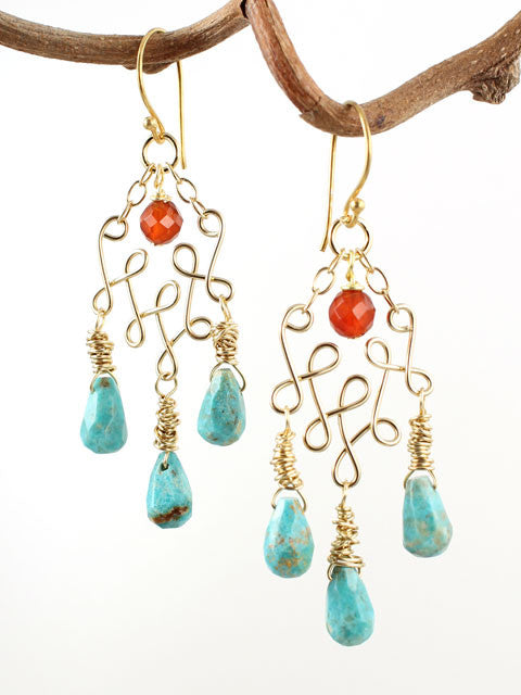 Wire loops turquoise gemstone earrings