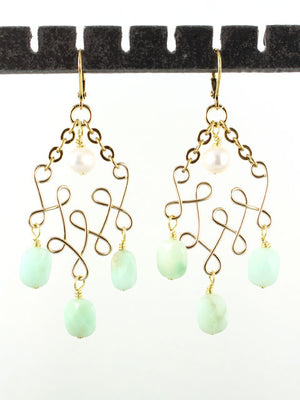 Wire loops green chrysoprase earrings
