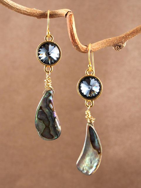 Blue crystal and shell earrings