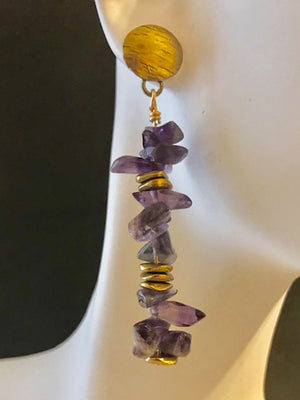Amethyst chips and brass accent earrings