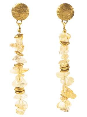 Citrine chips and brass accent earrings