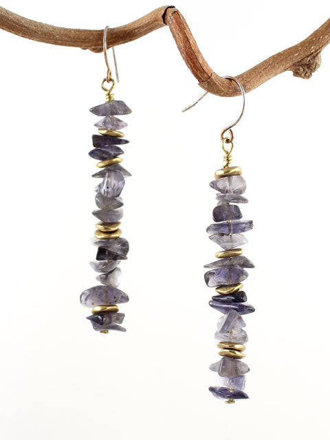 Iolite chips with brass accents earrings