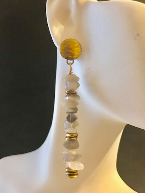 Agate chips brass accent earrings