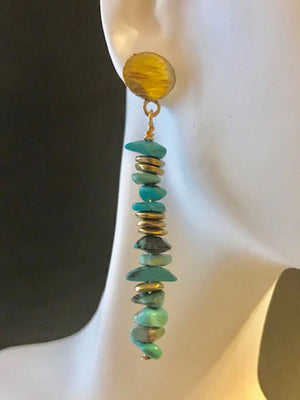 Turquoise chips with brass accents earrings