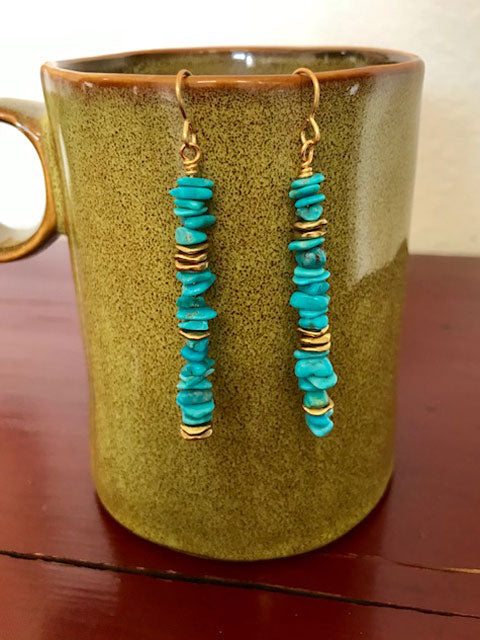 Turquoise small chips with brass accents earrings
