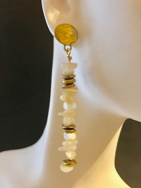 Light MOP chips and brass accent earrings