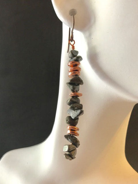 Pyrite chips with copper accents earrings