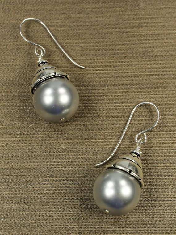 Grey crystal pearls sterling silver bead cap earrings