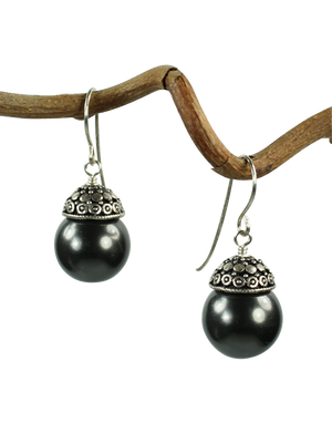 Black pearl filigree cap earrings