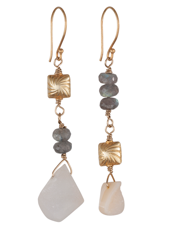 Labradorite, druzy and gold earrings