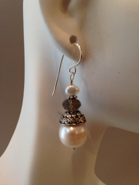 Pearl and smoky quartz filigree cap earrings