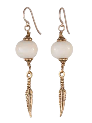 Bone and feather earrings