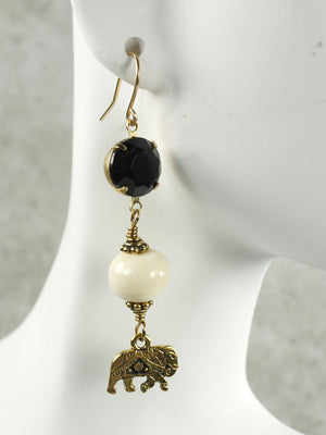 Bone and crystal elephant earrings