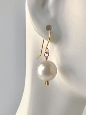 White pearl seed bead accent earrings