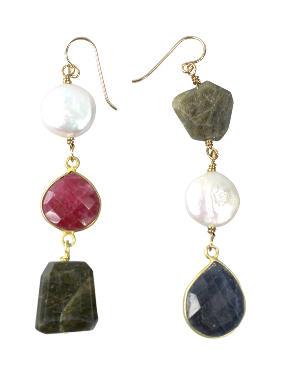 Pearl, tourmaline and bezel gemstone earrings