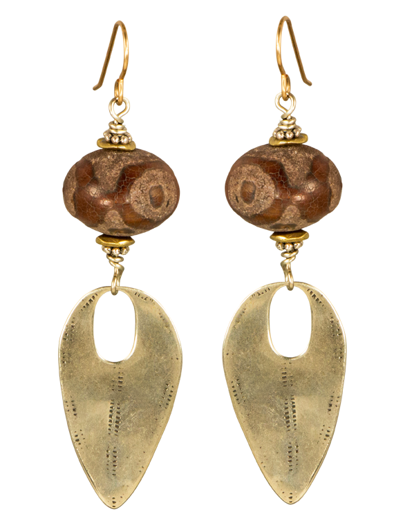 Agate and white bronze earrings