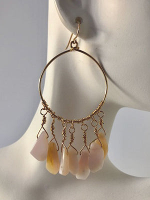 Pink opal drops hoop earrings