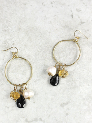 Pearl, citrine and onyx hoop earrings