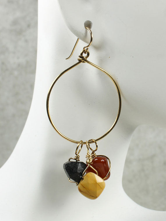 Tourmaline, carnelian and mookite hoop earrings
