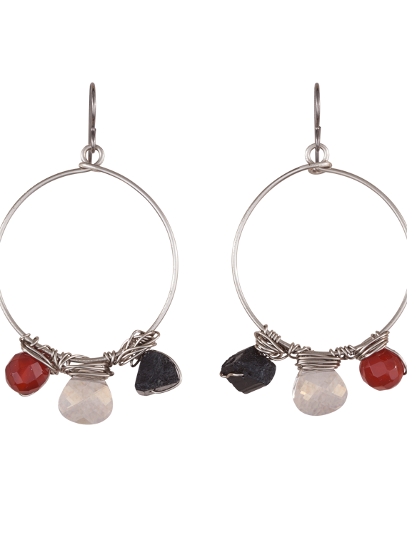 Tourmaline, carnelian and crystal hoop earrings