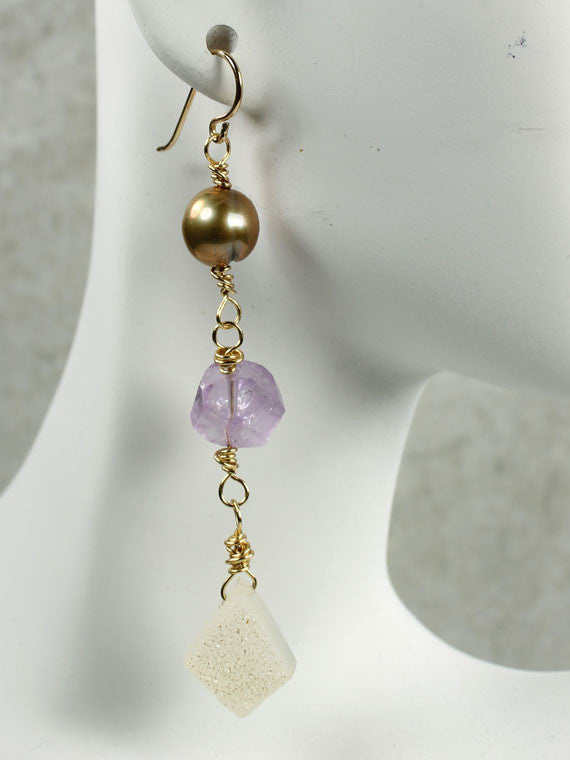 Pearl, amethyst and druzy earrings