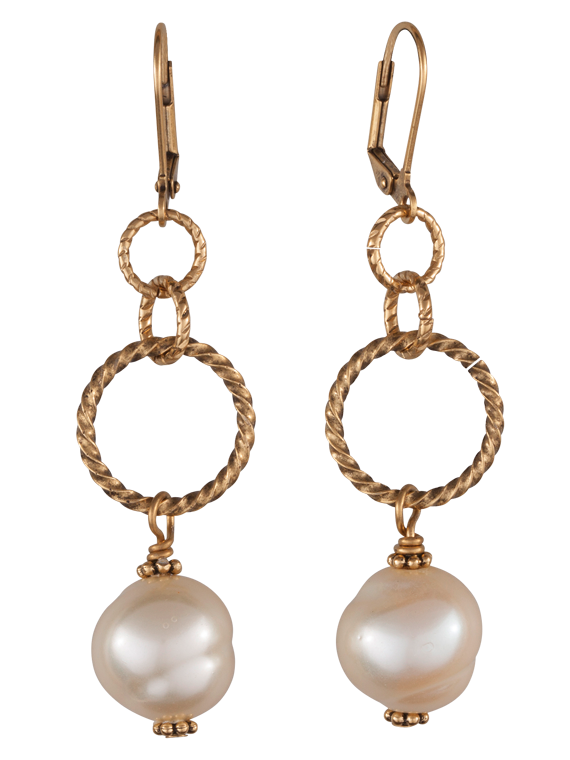 Twisted gold tone and pearl earrings