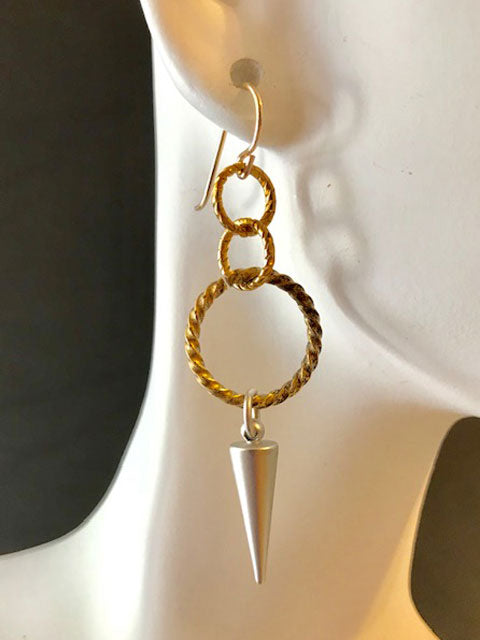 Twisted gold and silver cone dangle earrings