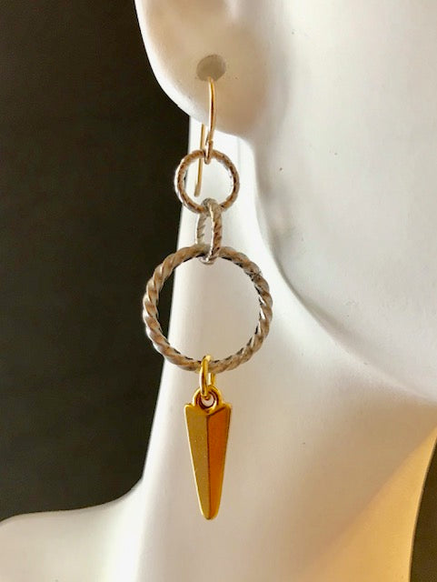 Twisted silver and gold dagger earrings