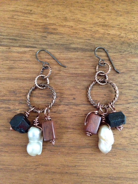 Twisted copper hoop and bead earrings