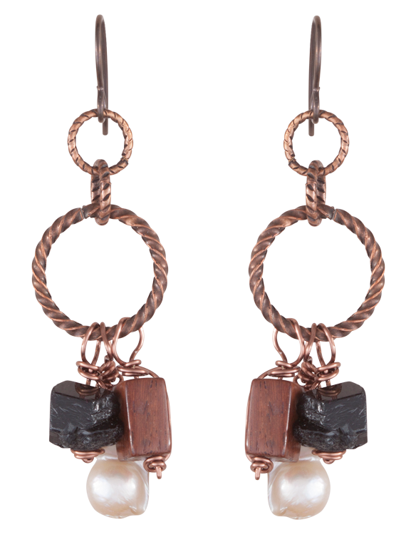Twisted copper hoops and beads earrings