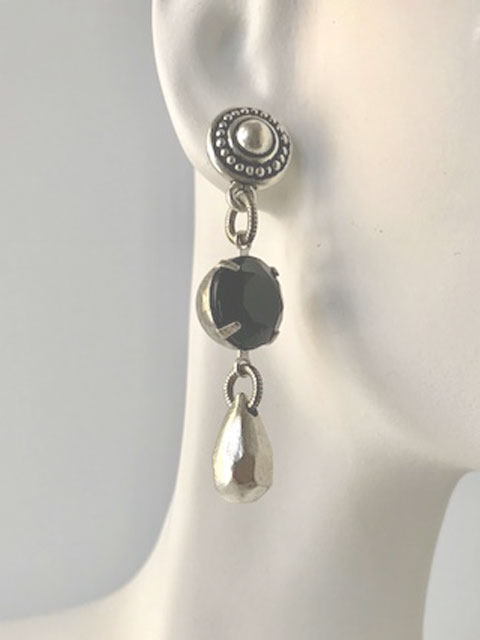 Black crystal silver teardrop earrings