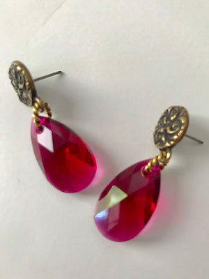 Brass flower posts ruby teardrop crystal earrings