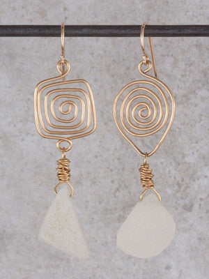 Spiral white druzy earrings