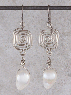Spiral white mother of pearl earrings