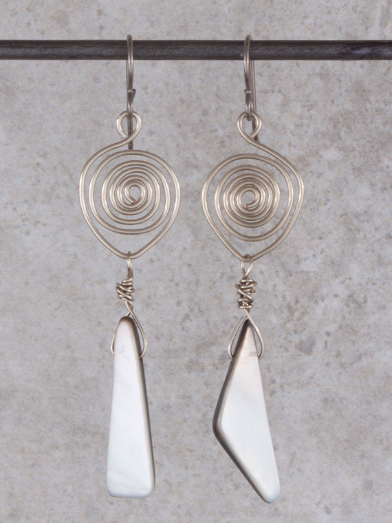 Spiral grey mother of pearl earrings