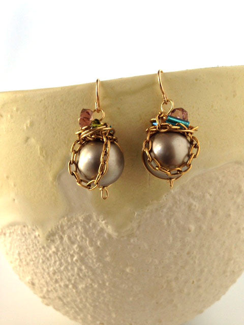 Bronze pearl, wired and chain earrings