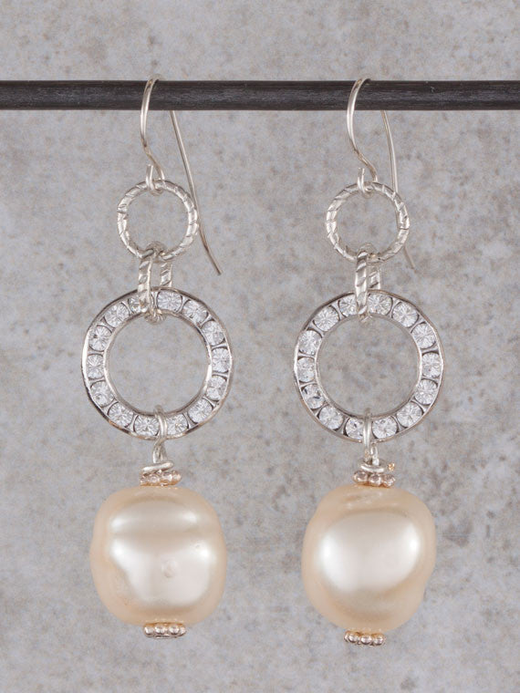 Crystal circle and white pearl earrings