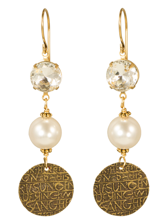 Crystal, pearl and coin earrings