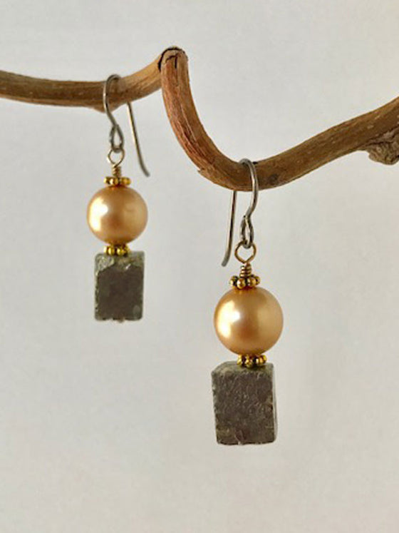Pyrite and pearl earrings